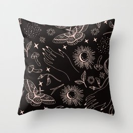 Hand drawn abstract flat graphic icon illustration sketch seamless esoteric pattern Throw Pillow