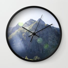 Breathe in the mountain light Wall Clock