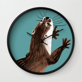 Asian small-clawed otter Cadet blue Wall Clock