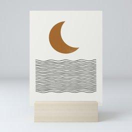 Moon by the ocean Mini Art Print