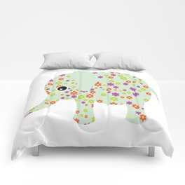cute floral elephant Comforters