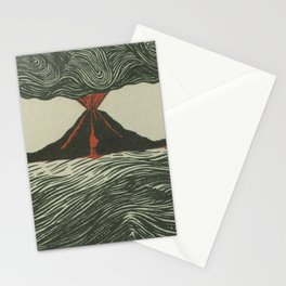Volcano Woodcut Stationery Cards