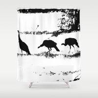 turkey Shower Curtains featuring Turkey Silhouette by Kim Pate