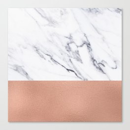 Marble Rose Gold Luxury iPhone Case and Throw Pillow Design Canvas Print