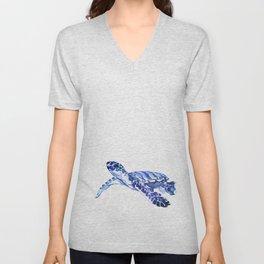 Indigo blue Sea Turtle, swimming turtle blue artwork beach house decor Unisex V-Neck