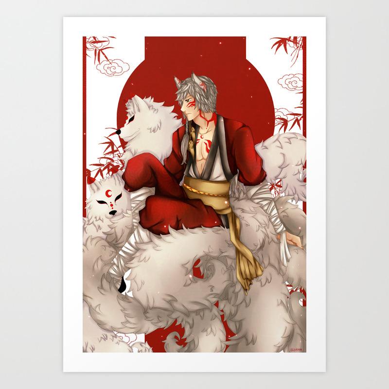 Kitsune 5x7 or 8x10 Inch DrawlloweenHalloween 2019 Themed Art Print