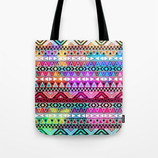 Neon Aztec | Purple Pink Neon Bright Andes Abstract Pattern Tote Bag