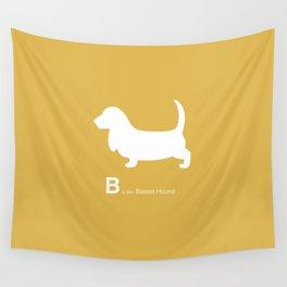 Basset Hound   Dogs series   Mustard Yellow Wall Tapestry
