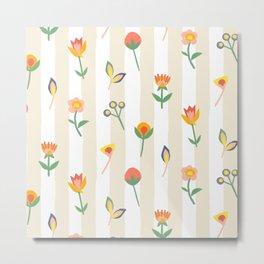 Paper Cut Flowers Metal Print