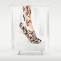 shoes Shower Curtains featuring Shoes II by Carlos ARL