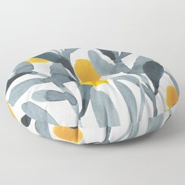 Seamless Watercolor Pattern Mystical Pattern Watercolor Floral Flowers Grey Blue Leaves Orange Fruit Floor Pillow