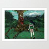 inuyasha Art Prints featuring Inuyasha and Kagome by Creativelea