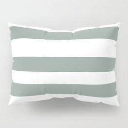 Valspar America Sea Green - Green Water - Zinc Blue Hand Drawn Fat Horizontal Stripes on White Pillow Sham
