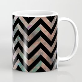 Abstract black pink teal watercolor nebula chevron Coffee Mug