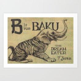 Alphabestiary B - Baku Art Print