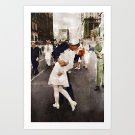 The Kiss,VJ Day, WWII Art Print