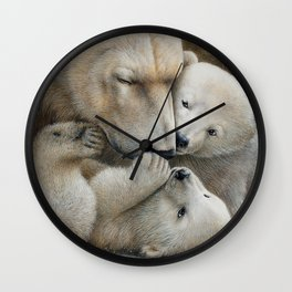 """Nanuk family"" Polar bear by Claude Thivierge Wall Clock"