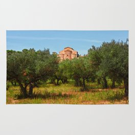 Medieval Abbey among olive trees in Italy Rug