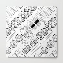 Sushi Coloring Metal Print