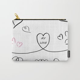 Hand drawing of hearts Carry-All Pouch