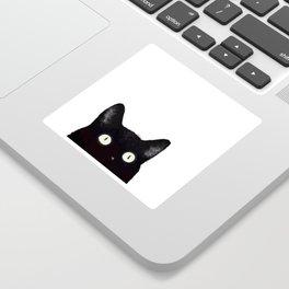 Black Cat Peeking Up Sticker