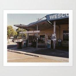 Vintage petrol station Art Print