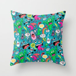 Monster Party Throw Pillow