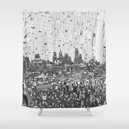 philadelphia city skyline black and white Shower Curtain