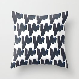 Navy blue black abstract watercolor zigzag brushstrokes pattern Throw Pillow