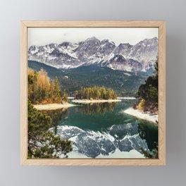 Green Blue Lake, Trees and Mountains Framed Mini Art Print