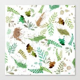 Green Leaves, Paint Splatter, Pattern Canvas Print