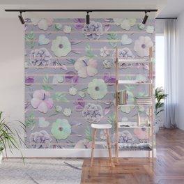Blush Lavender Purple Teal Rose Gold Stripes Floral Wall Mural