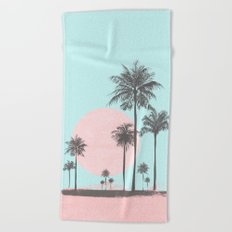 Beachfront palm tree pastel sunset graphic Beach Towel
