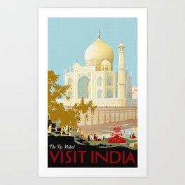 Visit India - Taj Mahal - Vintage Travel Poster Art Print