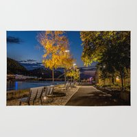 pittsburgh Area & Throw Rugs featuring PITTSBURGH FALL by Stephanie Bosworth
