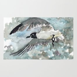 Seagull in Stormy Weather Rug