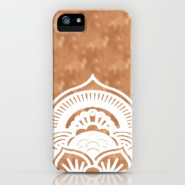 White mandala on copper iPhone Case