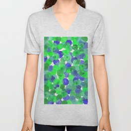 Watercolour Circles- Green and Blue Palette Unisex V-Neck