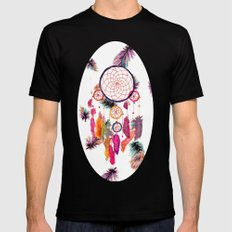 Hipster Watercolor Dreamcatcher Feathers Pattern  Black Mens Fitted Tee MEDIUM