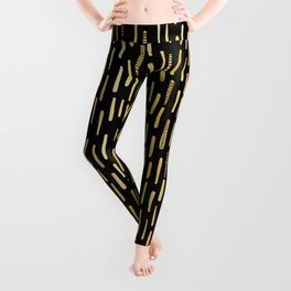 Black Gold Foil Lines Stripes Pattern Seamless Vector Hand Drawn Leggings