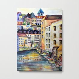 Gamla Stan Old City Stockholm Sweden Architectural Watercolor Landscape Metal Print
