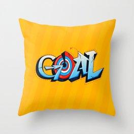Goal lettering graffiti (blue on orange) Throw Pillow