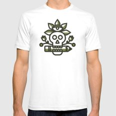 Skull Pencil SMALL White Mens Fitted Tee
