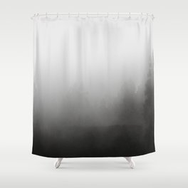 trees in fog - forest landscape - black and white Shower Curtain