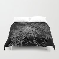 vienna Duvet Covers featuring Vienna map by Line Line Lines
