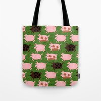 pigs Tote Bags featuring Pigs by Paper Bicycle
