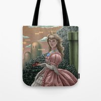 peach Tote Bags featuring Peach by Joifish