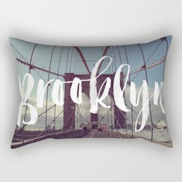 Brooklyn Bridge Photography and Calligraphy Rectangular Pillow