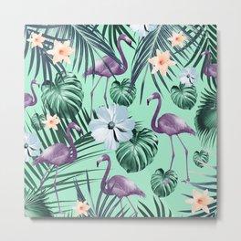 Tropical Flamingo Flower Jungle #5 #tropical #decor #art #society6 Metal Print