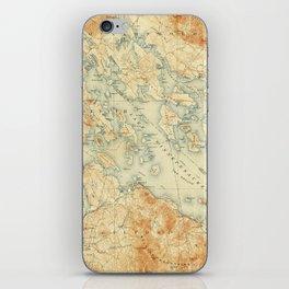 Vintage Map of Lake Winnipesaukee (1907) iPhone Skin